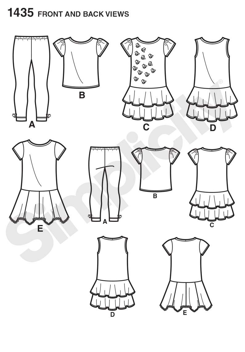 Simplicity 1435 Girls Knit Dresses Top and Capri Leggings Knits Only Size: A 3-4-5-6-7-8
