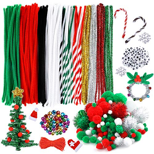 Caydo 400 Pieces Christmas Pipe Cleaners Sets, Including 120 Pcs Pipe Cleaners, 130 Pcs Pom Poms,100 Pcs Wiggle Googly Eyes and 50 Pcs Mixed Color Jingle Bells for Festival Decoration DIY Craft
