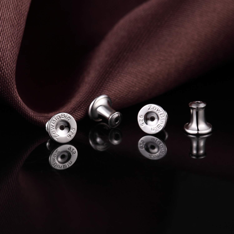 Earring Backs Sterling Silver Hypoallergenic Locking Earring Backs,Secure Post Earring Backs for Studs Adjustable Replacement Earring Backs,White Gold Silver Earring Backs Comfort Lock Earing Backs