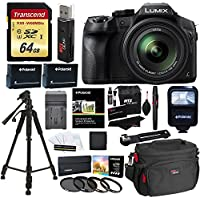Panasonic LUMIX DMC FZ300 4K Point and Shoot Camera with Leica DC Lens 24X Zoom Black + Polaroid Accessories + 64GB SD Card + 57 Tripod + Ritz Gear Bag + 2 Batteries + Charger + Filter + Cleaning Kit