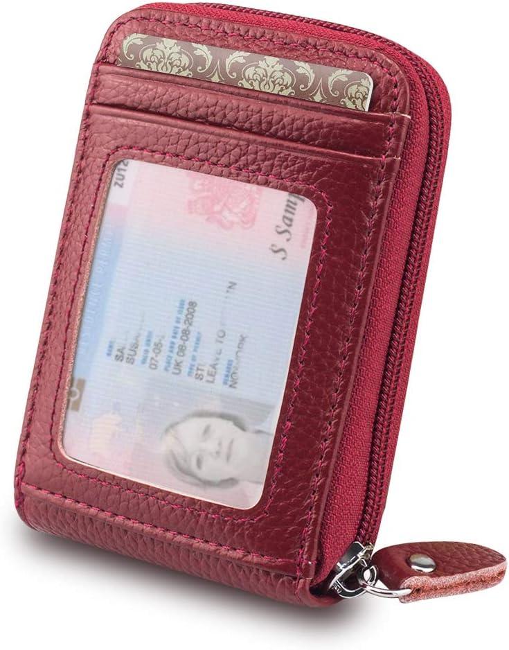 BAGZY Portafoglio Piccolo in Vera Pelle Porta Carte di Credito RFID NFC Blocco Portamonete con Cerniera Portafoglio Carta didentit/à Caso di Carte 13 Card slot Regalo 2 Pz RFID Custodia Protettiva