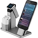 Stand per Apple Watch, Aluminum 4 in 1 per Apple iWatch supporto di ricarica iPhone Airpods stazione dock per Apple Watch 3/2/1/x Airpods/iPhone/8/8Plus/7Plus/6s/6sPlus/iPad, Grigio