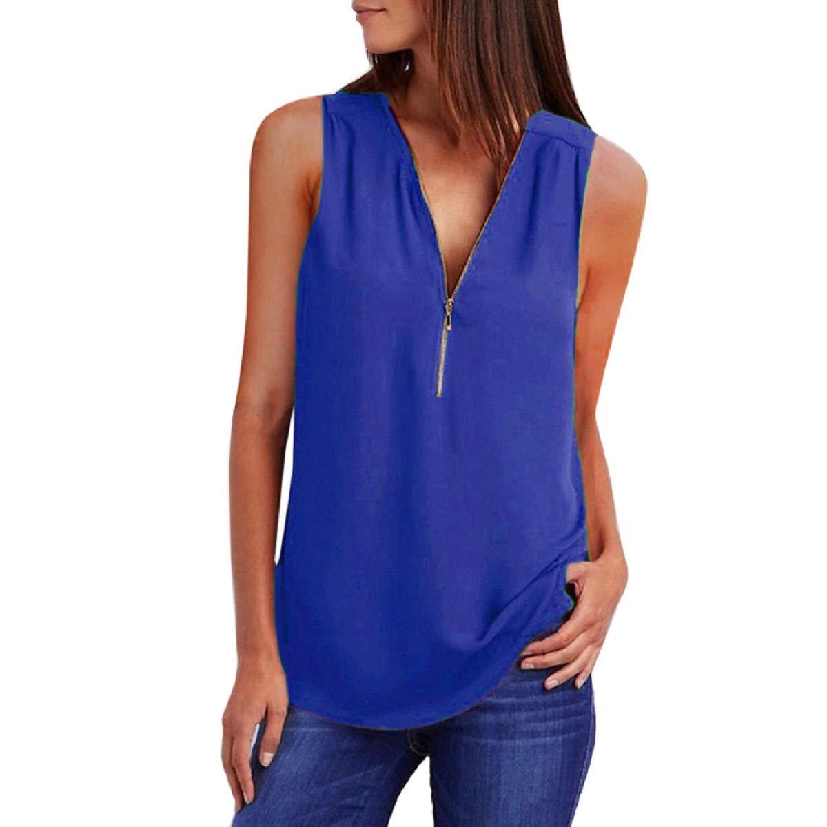 OTINICE Women Tank Top Chiffon Sleeveless V-Neck Zipper Loose Fashion T-Shirt Summer Blouse Blue