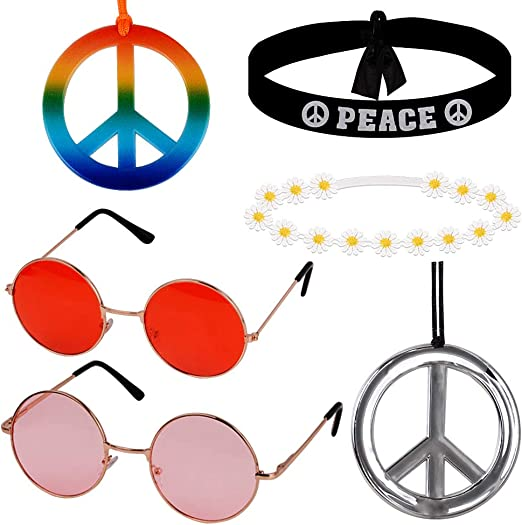MEJOSER 6pcs Accesorios Disfraz Fiesta Hippie 2pcs Gafas Hippie de ...