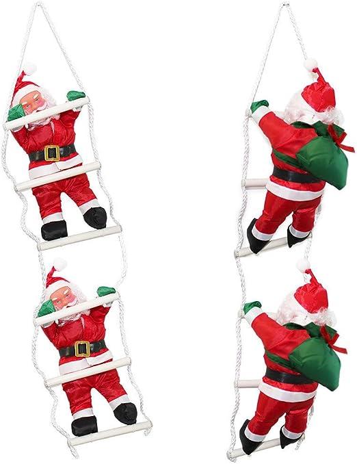 LD decorativa navideña Papá Noel en escalera 65 cm Navidad decoración figura de Navidad Papá Noel: Amazon.es: Jardín