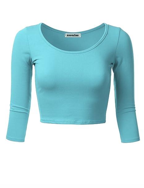 876c5021eca28b SSOULM Women's 3/4 Sleeve Scoop Neck Cotton Slim Fit Crop Top (S-1XL ...
