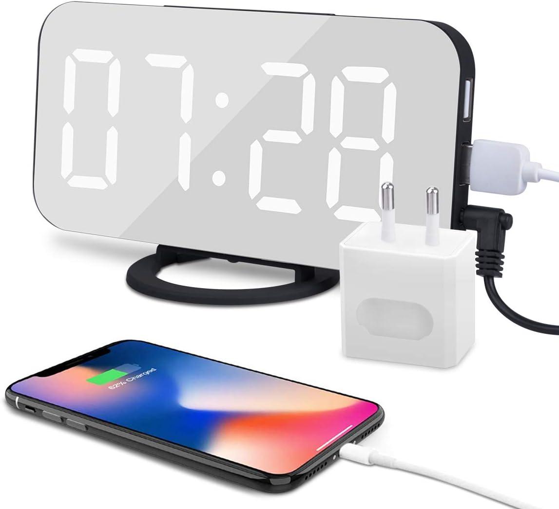 Despertador Digital Espejo LED Despertador Electrónico, Espejo Reloj Digital Moderno con Función de Alarma USB Puerto, Snooze y Memoria Automática, Luminancia Ajustable con 3 Niveles