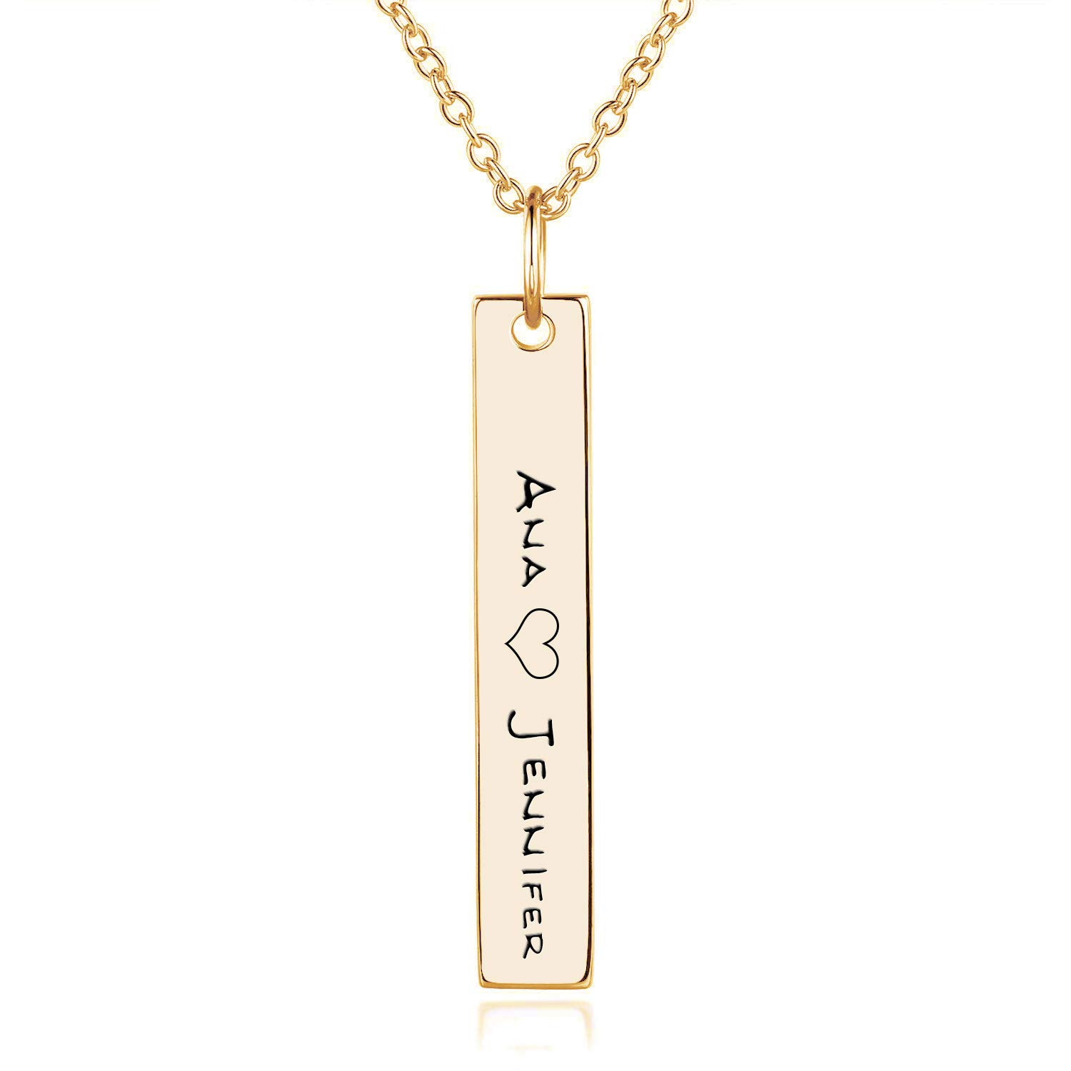 EverThanMore Vertical Bar Necklace Engraved Custom Name Necklace for Her Name Necklace Personalized