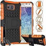 LARCADE (TM) 3 in 1 Bundle - Samsung Galaxy ALPHA - Heavy Duty Grenade Armor Case with Kickstand - Orange (Include Premium Screen Protector & Sensitive Cap Stylus Pen by LARCADE)