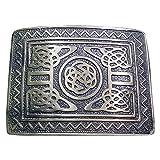 Scottish Kilt Belt Buckle Swirl Celtic Design Antique Plated