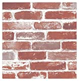 HaokHome 704 Vintage Faux Brick Wallpaper Rolls Red/Brown/Wheat Rust Brick Stacked Photo Paper Murals Home Kitchen Bathroom Wallpaper Decoration 20.8'' x 393.7''