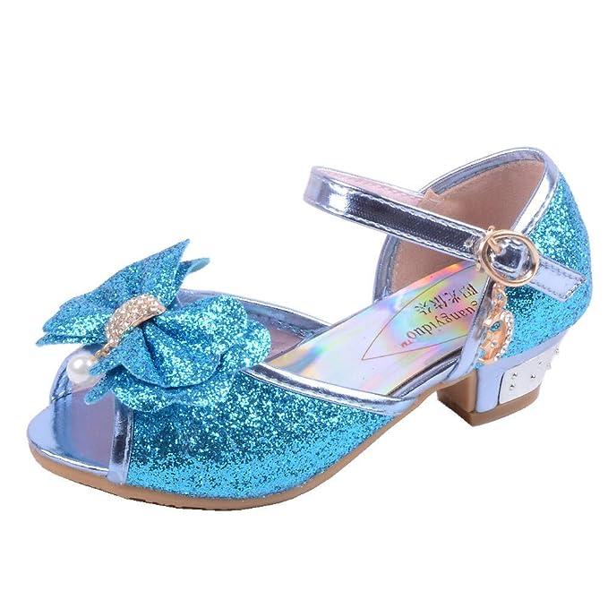2119a27b Zapatos Niña Princesa - Talla 26-35 - Zapatos Tacon de Fiesta - Sandalias  de Vestir Cristal Bling Bowknot: Amazon.es: Ropa y accesorios