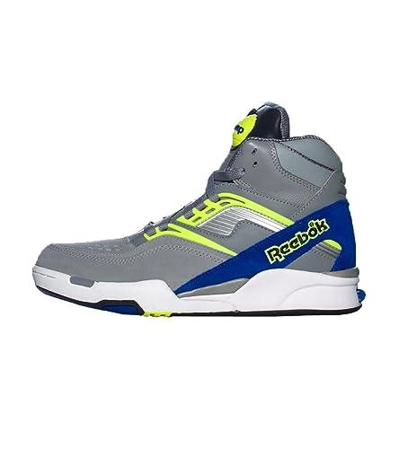 201b48bbce61 Reebok - Mens Twilight Zone Pump Grey Royal Neon Yell Hightop Shoes ...
