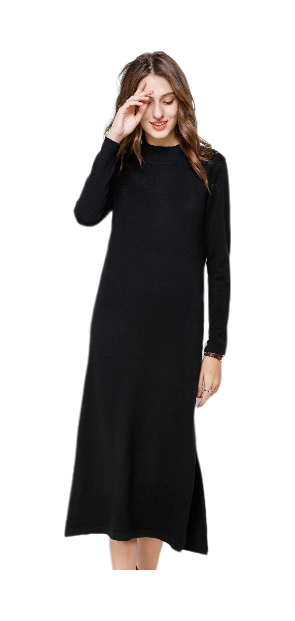 Womens Loose Fit Ribbed Mock Neck Long Sleeve Cashmere Side Hem