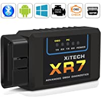 OBD2 Bluetooth Adapter Diagnosegerät ,QHUI OBDII Diagnose Scanner ELM327 Interface Universal Auto-Scanner Code Leser, Motorkontrollleuchte Diagnosegerät für Android Windows Smartphone Tablet