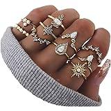 6-16 PCS Knuckle Stacking Rings for Women Teen Girls,Boho Vintage Finger Rings Stackable Gold Silver Midi Rings Set Multiple