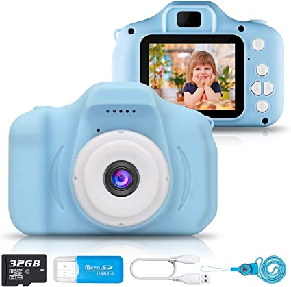 Blue hyleton Kids Camera Rechargeable Kids Digital Camera 2.0 Inch IPS Screen 5MP 1080P Video Action Camcorder Toy Camera Gift for Kids
