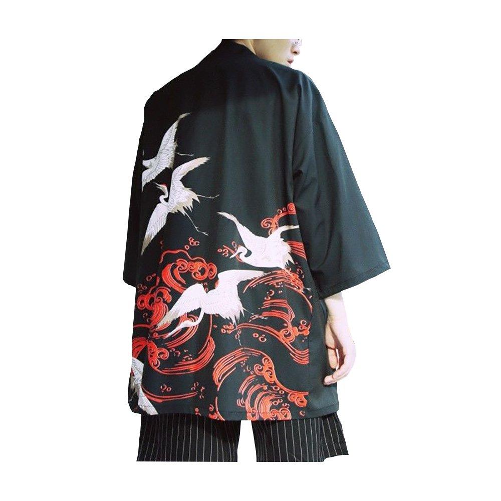 Mens Kimono Jacket Japanese Style Crane Printed Noragi Coat Cardigan by Hao Run