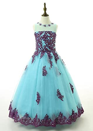 Amazon.com: Y&C Girls' Ball Gown Appliques Beads O-neck Pageant ...