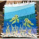 Baby Sea Turtle ~ Ribbon Baby Blanket with Ribbon Tabs 37 X 40