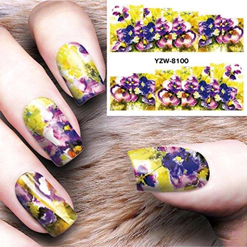 YJYdada 10Pcs Nail Art Stickers Decoration Design Manicure Tips Water Decal Decoration (D) ()
