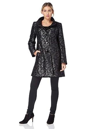 rencontrer 5cbcf 193d2 Roman Originals Femme Manteau Jacquard métallisé - Broderie Long  Confortable Longue - Automne Hiver Manteaux - Noir
