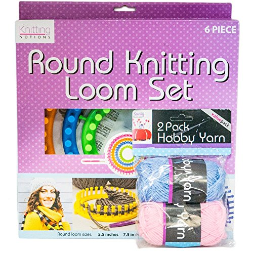 Round Knitting Loom Kit – for Beginner Knitters with Hobby Yarn Set to make Scarves and Socks by Kole