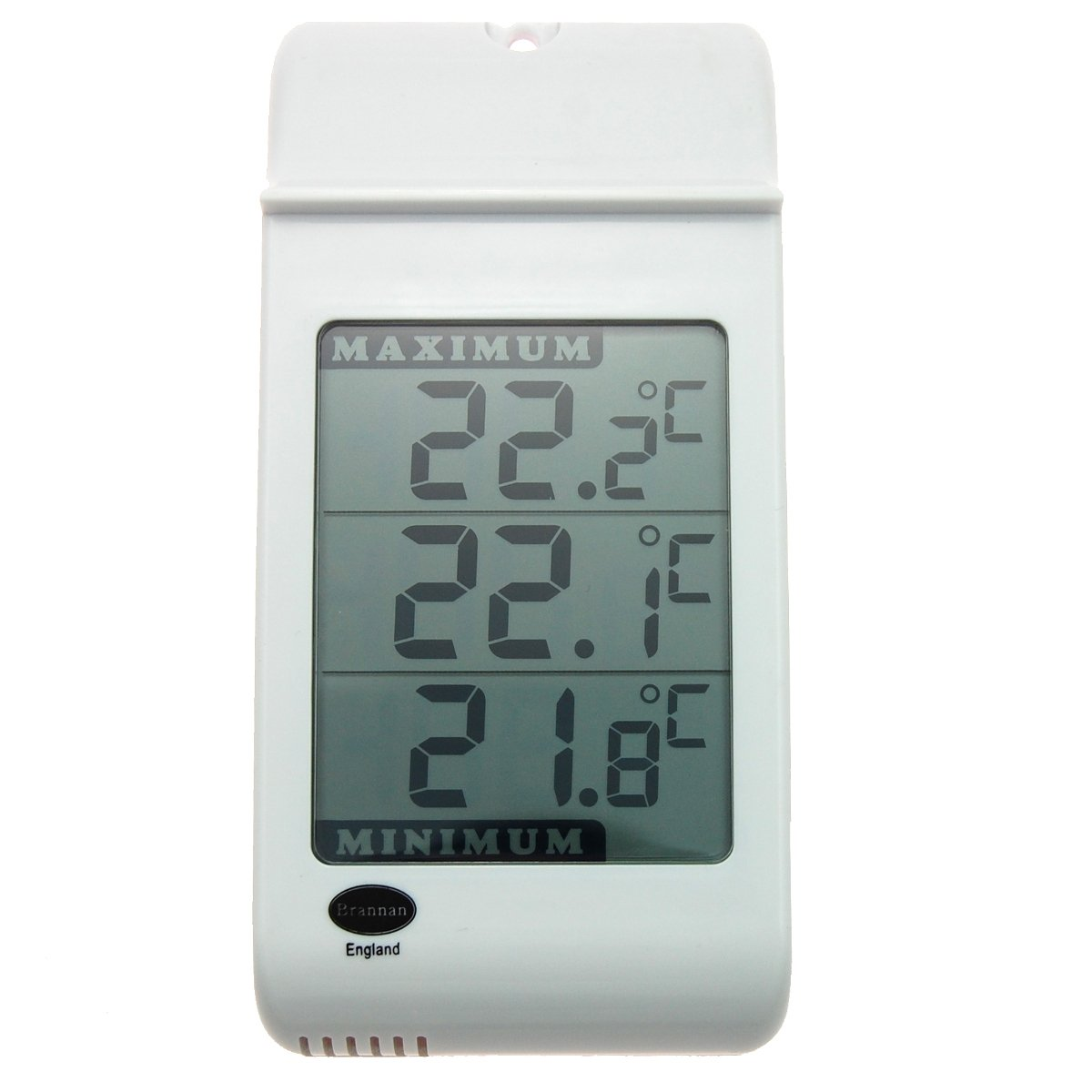 Brannan Large Digital Max Min Thermometer in White - Indoor Outdoor Garden Greenhouse Wall 810-100