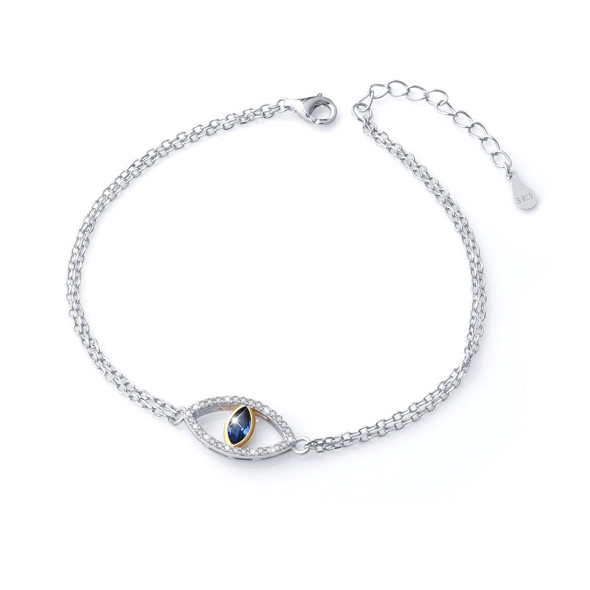SILVER MOUNTAIN 925 Sterling Silver Double Strand Cubic Zirconia Evil Eye Bracelet Jewelry For Women (Blue)
