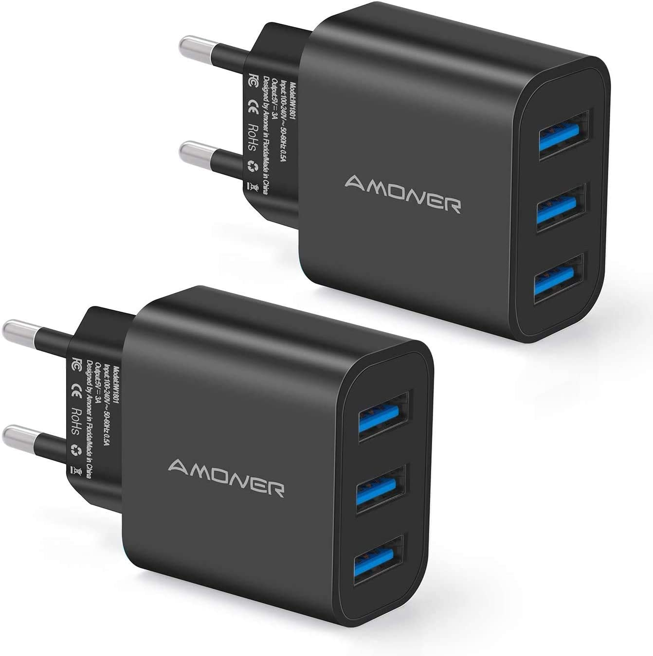 Amoner Cargador USB de Pared con 3 Puertos Cargador USB 3A Una Corriente Máxima de 2,4A Cargador Móvil para Todos Los Tipos de Celular 2 Packs (Negro)