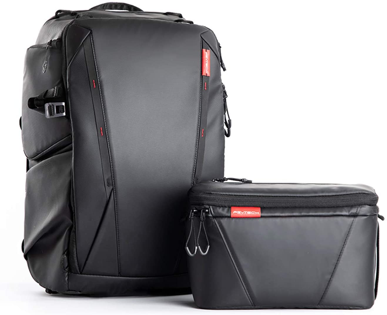 PGYTECH OneMo Camera Backpack 25L with Shoulder Bag for Sony 200-600mm Lens, Canon, Nikon, Drone, DJI OSMO Action/Pocket/OM 4, Mavic Air 2/Mini/2, DSLR/SLR Mirrorless, Camera Tripod (Twilight Black)