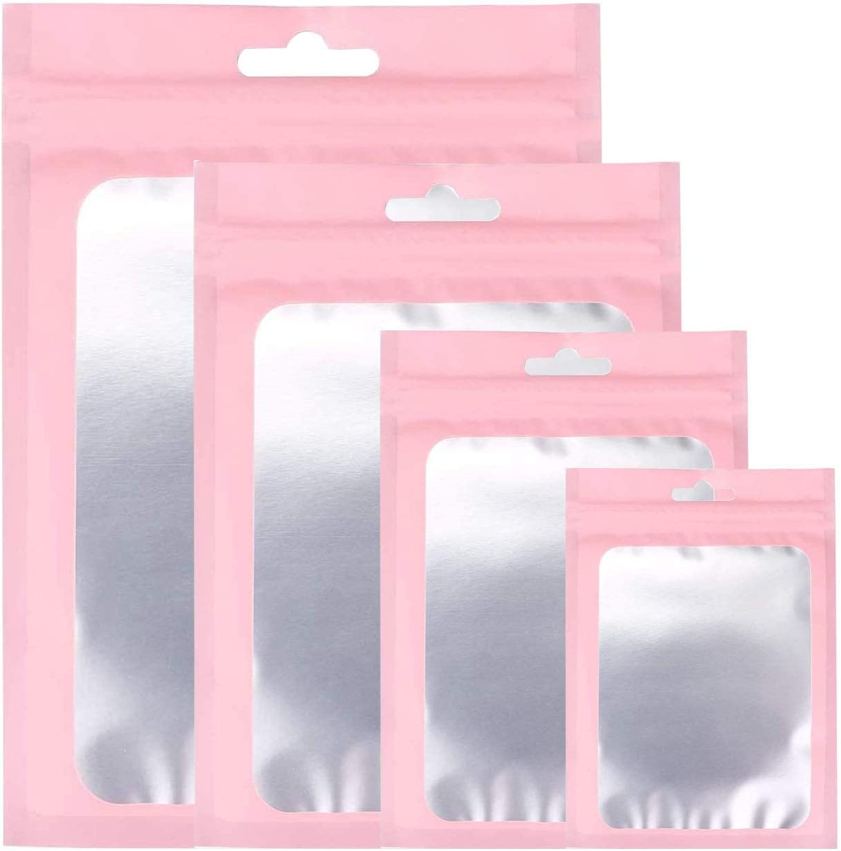 CAKKA Resealable Smell Proof Bags, 100PCS 4 Size Mylar Ziplock Odor Proof Bag, Aluminum Foil Pouch for Weed Candy Jewelry Cookies 3x4 4x6 5.5x8 6x9 Inch (Pink)