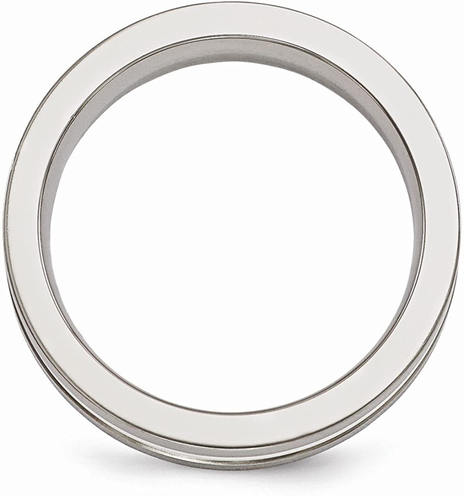 Bridal Wedding Bands Fancy Bands Edward Mirell Titanium Brushed and Polished with Sterling Silver 6mm Band Size 6.5
