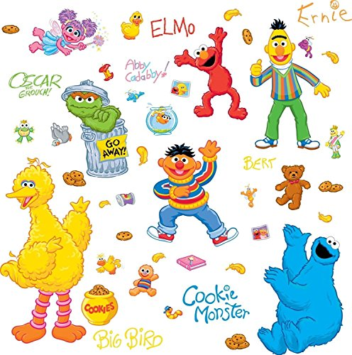 Sesame Street 45 Big Wall Stickers Elmo Big Bird Abby Oscar Room Decor Decals ()