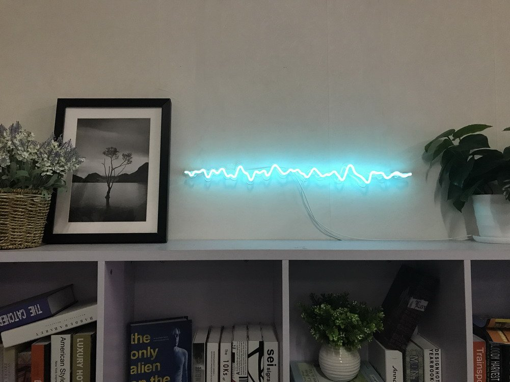 Brain Wave Real Glass Neon Sign For Bedroom Garage Bar Man Cave Room Home Decor Handmade Artwork Visual Art Dimmable Wall Lighting Includes Dimmer Artist Emily Ryder