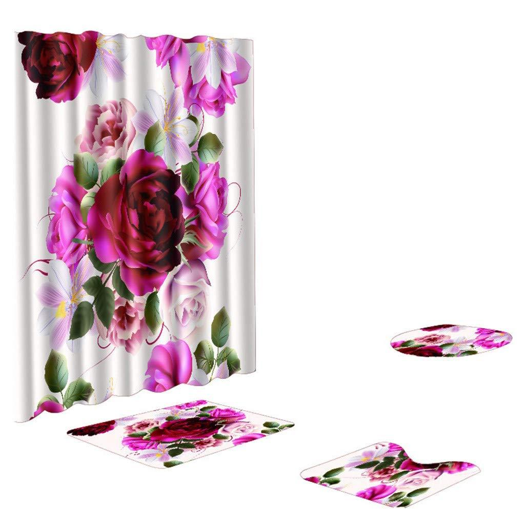 XIANAER Non-Slip 4Pc Bathroom Shower Curtain + U-Shaped Contour Carpet + Toilet Pad Washable Hotel Home Decoration Flower Map