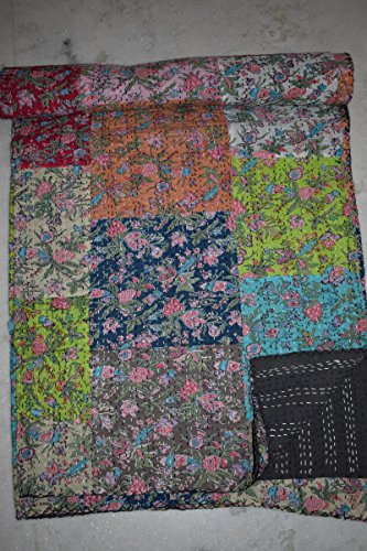 Tribal Asian Textiles Floral Patchwork Multi Bedspread, Queen Size Kantha Quilt, Reversible Floral Kantha Throw by Tribal Asian Textiles