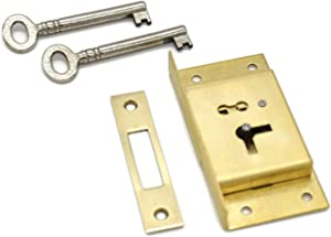 Half Mortise Chest Lock Half Mortise Cabinet Furniture Lock Premium Quality Made of Heavy Duty Brass - Large Antique Lock With Cast Brass Strike Plate - With 2 Keys - Drawer Locks and Right-Hand Doors