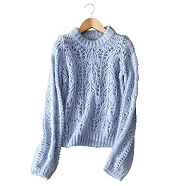 e692b5d1af5b7 YISHI Fashion Knitted Sweaters Elegant Hollowed Out Design Long Sleeve Tops  Loose Pullover (Blue