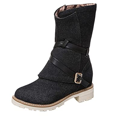 POLP Botas de Nieve Mujer Invierno Forradas Calientes Planos Fur Calentar Caña Altas Piel Antideslizante Cálidas Botines Snow Boots Casual Zapatos con ...