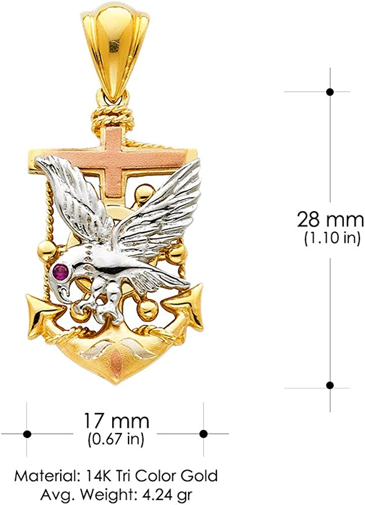 14K Tri Color Gold Eagle Anchor Charm Pendant For Necklace or Chain