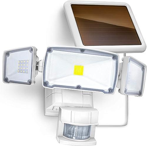 EZBASICS 500LM Solar Motion Sensor Light Outdoor, No Dim Mode, Security Light for Front Door, Yard, Garage, Deck, 4 Pack