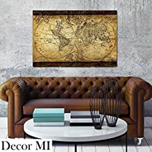 "Decor Mi Vintage World Map Canvas Wall Art Retro Map of the World Canvas Prints Framed and Stretched for Living Room Ready to Hang 24""x35"" ..."