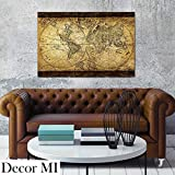 Wall Mounted Framed Decoration Painting Print Sketch World Map Brown Tone Retro Vintage Artwork Historical Collections Value Ready To Hang 23.6×35.4×1.6 inch Picture