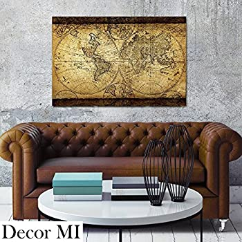 Decor Mi Vintage World Map Canvas Wall Art Retro Of The Prints Framed