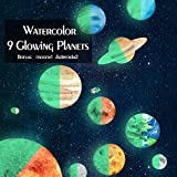Amaonm 9pcs Watercolor Glow In the Dark Solar System Planet Wall Stickers + 2pcs Asteroid + 1pcs Moon Glowing Stickers Decals Decor for Kids Baby Girls and Boys Bedroom Ceiling Living Room Nursery