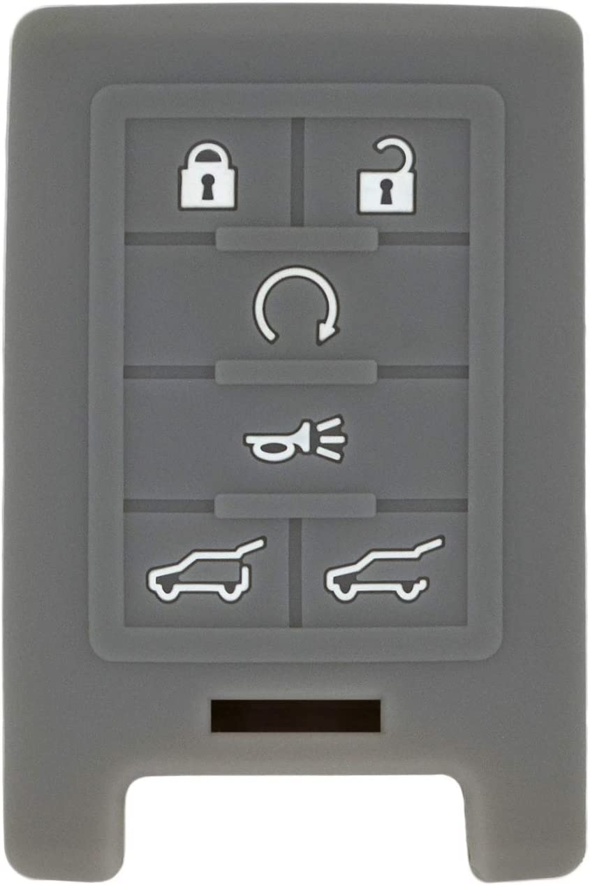 QualityKeylessPlus Protective Silicone Rubber Keyless Entry Remote Fob Case Skin Cover for select 6 Button Cadillac Remotes FCC M3N5WY7777A NBG009768T OUC6000066 OUC6000223