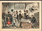 Yellow Journalism Religious Bias Smoking 1885 antique color lithograph print