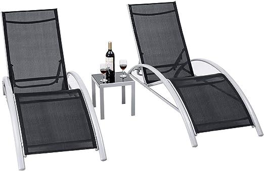 Amazon.com: Giantex - Juego de 3 sillas de aluminio para la ...