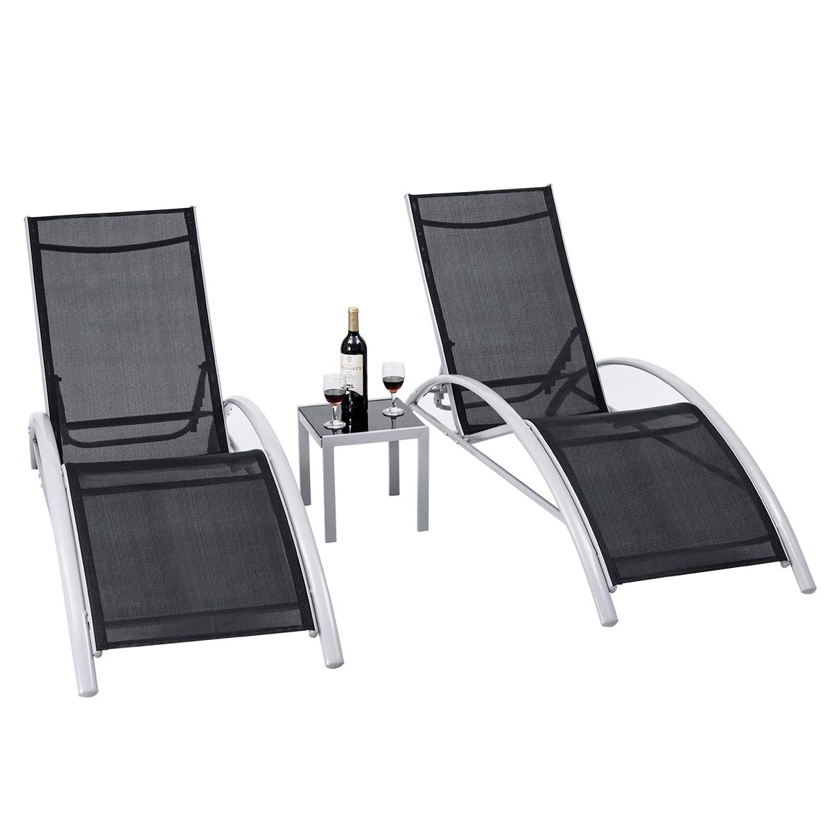 Giantex 3-Piece Chaise Lounge Set Aluminum Frame for Outdoor Patio Garden Yard Pool Furniture Adjustable Chaise Lounge Chairs (Black) by Giantex